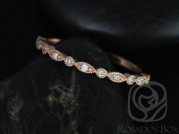 Gwen/Ultra Petite Bead & Eye 14kt Solid Rose Gold Dainty Diamonds Vintage WITH Milgrain HALFWAY Eternity Band Stack Ring,Rosados Box
