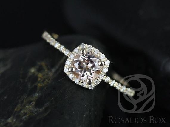 Rosados Box Barra 6mm 14kt Yellow Gold Morganite and Diamonds Cushion Halo Engagement Ring