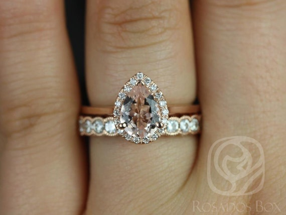 Julie 8x6mm & Cordelia WITH Milgrain 14kt Rose Gold Pear Morganite  Diamond Dainty Pave Pear Halo Wedding Set Rings,Rosados Box