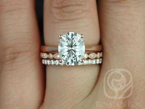 Rosados Box Skinny Lois 10x8mm, Ult Bd Eye, Tiffani 14kt Rose Gold Oval Forever One Moissanite and Diamond TRIO Wedding Set Rings