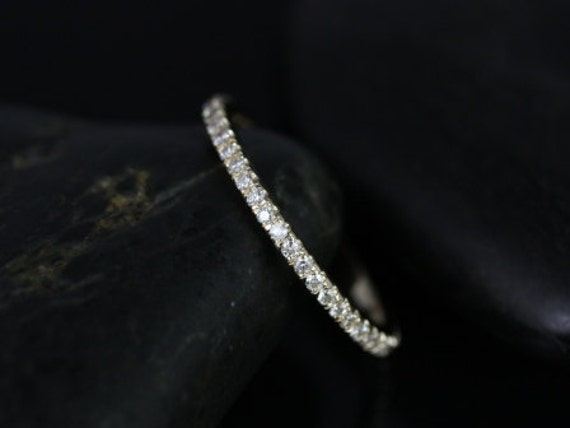 14kt Solid Gold Thin Micro Pave Diamond Matching Band Kubian 7mm / Samina 7mm Split ALMOST Eternity Ring,Rosados Box