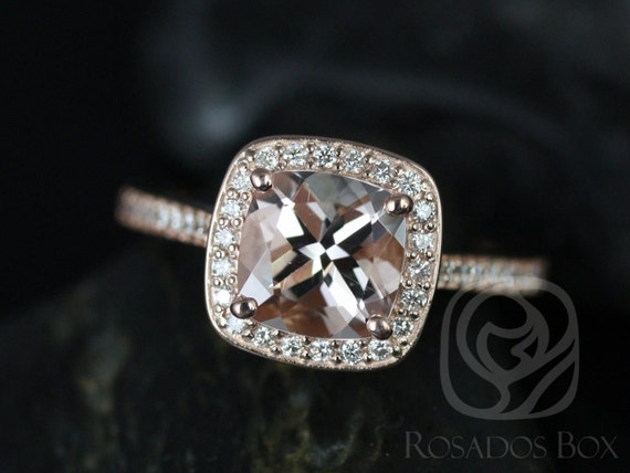 Rosados Box Hollie 7mm 14kt Rose Gold Cushion Morganite and Diamond Halo Engagement Ring