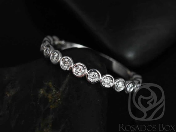 Bubbles Original 2.8mm 14kt White Gold Diamonds Bezel WITHOUT Milgrain ALMOST Eternity Band Stacking Ring,Rosados Box