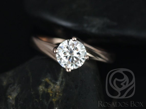 Rosados Box Souffle 6mm 14kt Rose Gold Round F1- Moissanite Single Twist Kite Solitaire Engagement Ring