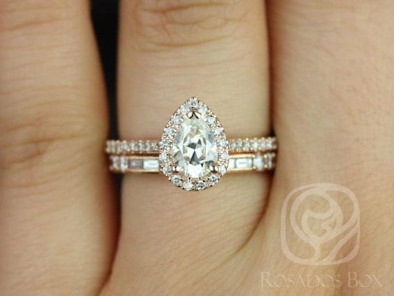 Rosados Box Tabitha 7x5mm & Gabriella 14kt Rose Gold Pear F1- Moissanite and Diamonds Halo Wedding Set