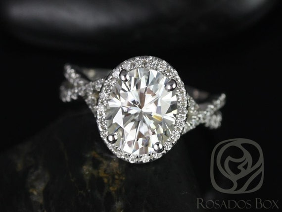 Rosados Box Thelma 10x8mm 14kt White Gold Oval Forever One Moissanite Diamond Twisted Halo Engagement Ring
