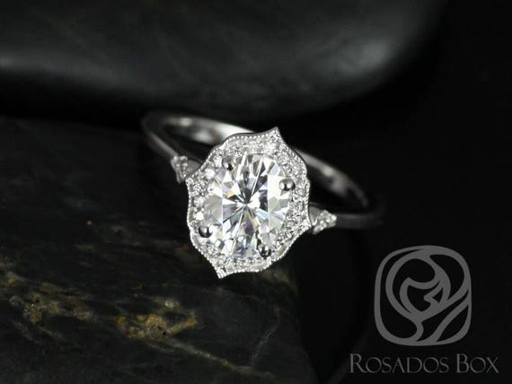 1.50ct Mae 8x6mm 14kt White Gold Forever One Moissanite Diamond Art Deco Unique Oval Halo WITH Milgrain Engagement Ring,Rosados Box