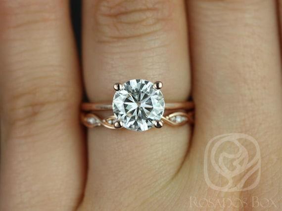 Rosados Box Skinny Alberta 8mm & Ember 14kt Rose Gold Round Forever One Moissanite and Diamond Wedding Set