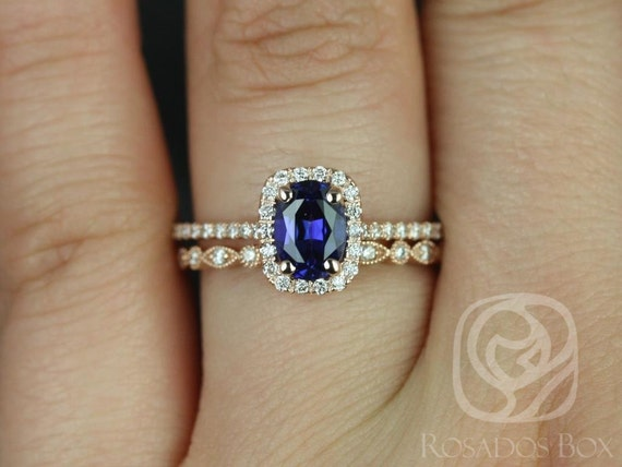 Rosados Box Romani 7x5mm & Ult Pte Bead Eye 14kt Rose Gold Oval Blue Sapphire and Diamonds Halo Wedding Set