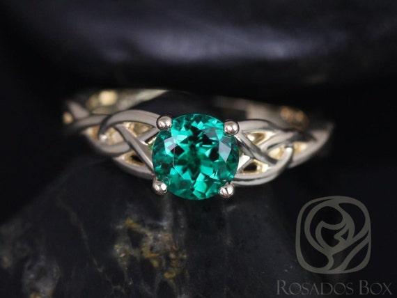 Ready to Ship Cassidy 6mm 14kt Solid Gold Round Green Emerald Celtic Love Knot Irish Triquetra Engagement Ring,Rosados Box