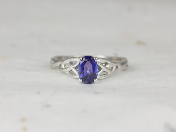 7x5mm Oval Blue Sapphire Celtic Love Knot Triquetra Engagement Ring,14kt Solid White Gold,Ciara 7x5mm,Rosados Box