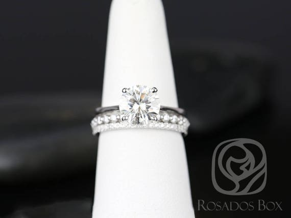 SALE Rosados Box Ready to Ship Skinny Flora 8.5mm, Petite Naomi & Kimberly 14kt FB Moissanite Diamond TRIO Wedding Set Rings Rings