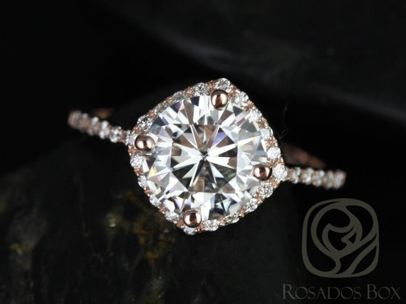 2ct Kitana 8mm 14kt Rose Gold Forever One Moissanite Diamonds Dainty Thin Pave Kite Cushion Halo Engagement Ring,Rosados Box