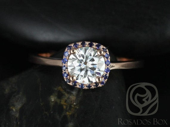 Forever One Moissanite Blue Sapphire Cushion Halo Engagement Ring , 14kt Solid Rose Gold , Bella 6mm , Rosados Box
