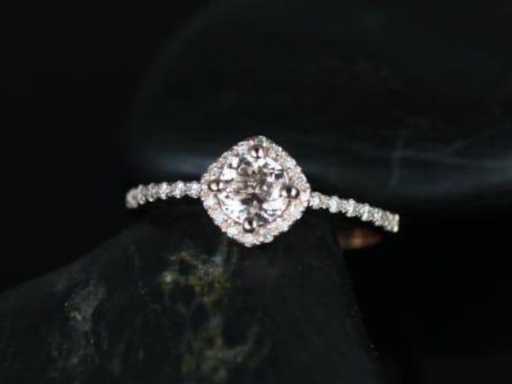 Rosados Box Kitana 5mm 14kt Rose Gold Morganite and Diamonds Cushion Halo Engagement Ring