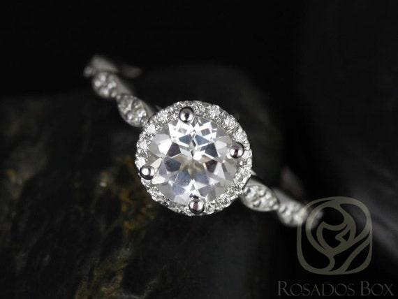 Samantha 6mm 14kt White Gold White Topaz Diamonds Art Deco Dainty Pave Round Halo WITHOUT Milgrain Engagement Ring,Rosados Box