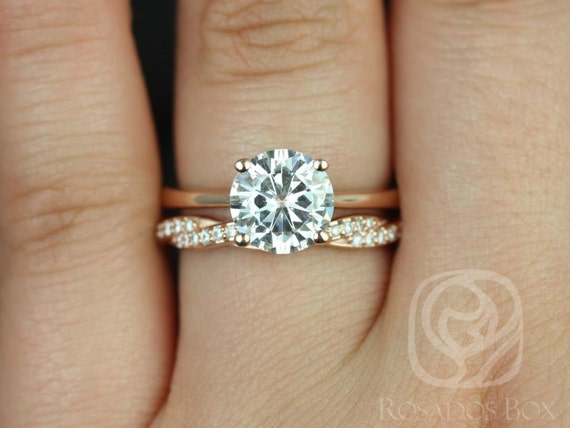2ct Skinny Flora 8mm & Twyla 14kt Rose Gold Forever One Moissanite Diamonds Twist Pave Round Solitaire Wedding Set Rings,Rosados Box