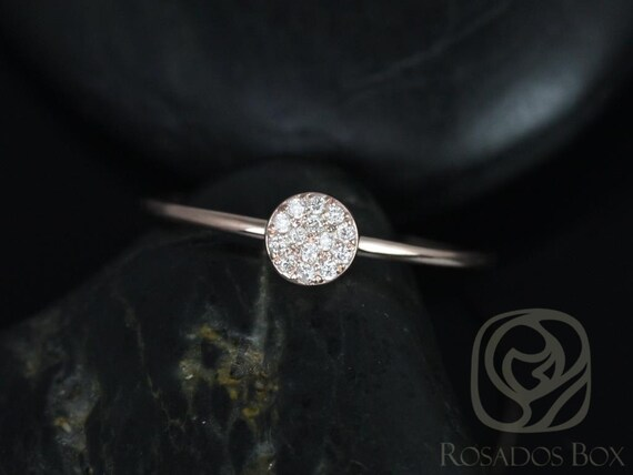 Diskco 14kt Rose Gold Petite Round Disk Diamonds Pave Ring (Other Metal Options Available)