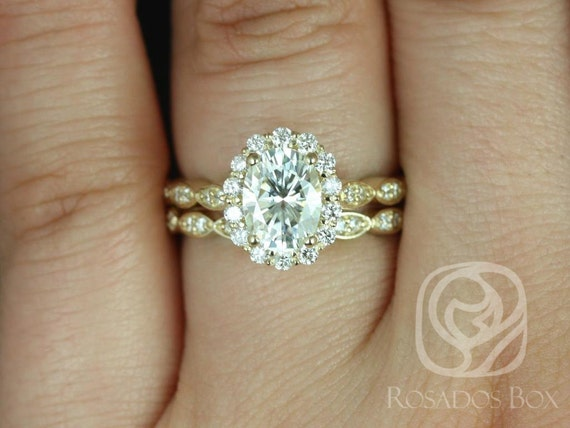 Rosados Box Jubilee 8x6mm & Christie 14kt Gold 1.50ct Oval Forever One Moissanite Diamond Art Deco Petal Halo Wedding Set Rings Rings