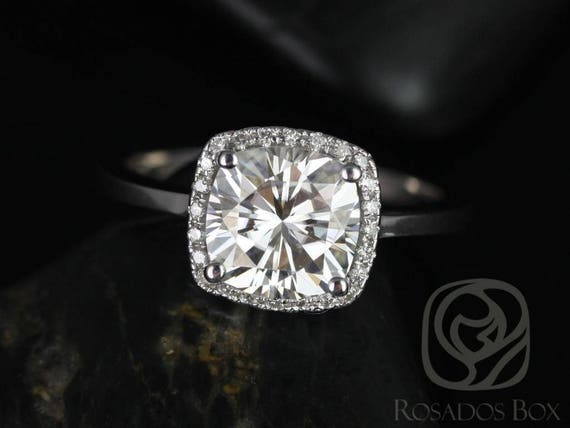 SALE FB Moissanite Diamond Cushion Halo Engagement Ring , 14kt Solid White Gold ,  Ready to Ship Bertha 7.5mm , Rosados Box