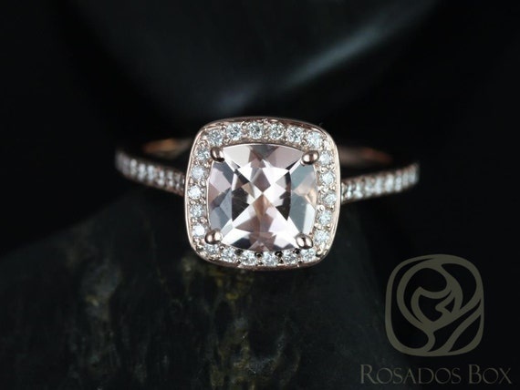 Rosados Box Hollie 8mm 14kt Rose Gold Cushion Morganite and Diamonds Halo Engagement Ring