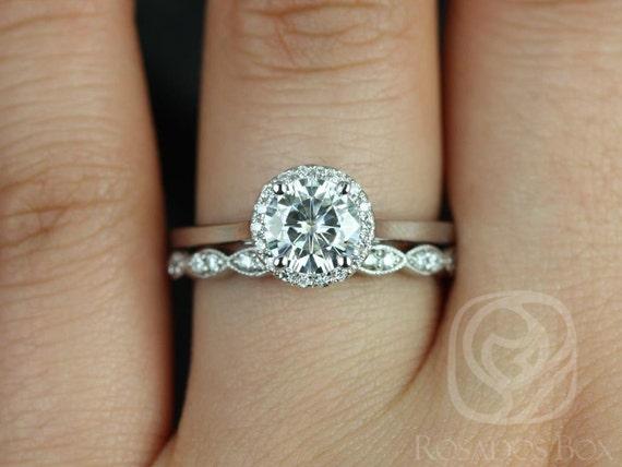1ct Amerie 6.5mm & Christie 14kt White Gold Forever One Moissanite Diamonds Art Deco Pave Round Halo Wedding Set Rings,Rosados Box