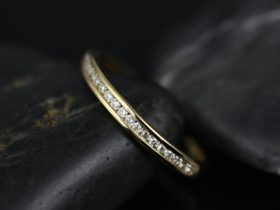 Rosados Box Martha 14kt Thin Yellow Gold Channel Set Round Diamond HALFWAY Eternity Band