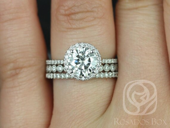 Rosados Box Kimberly 7.5mm & Petite Bubbles 14kt White Gold Round F1- Moissanite and Diamond Halo TRIO Wedding Set