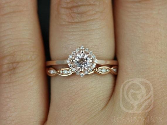 Rosados Box Ready to Ship Kyla 5mm & Ember 14kt Rose Gold  Morganite Diamond Cushion Kite Micropave Halo Wedding Set Rings