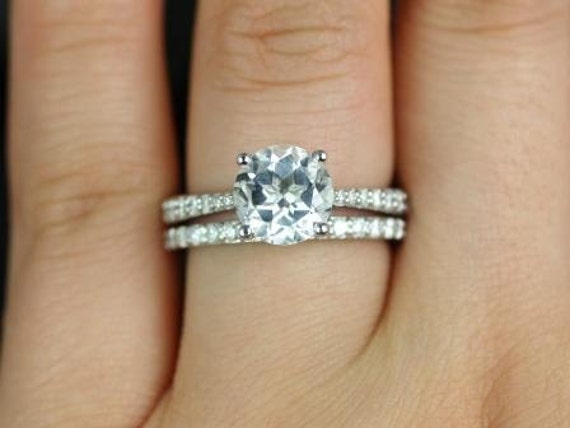 Rosados Box Taylor 8mm 14kt  White Gold Round White Topaz and Diamond Cathedral Wedding Set Rings
