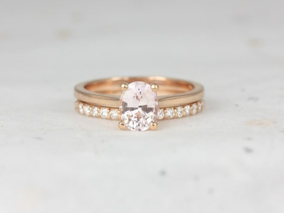 1.26ct Oval Peach Champagne Sapphire Diamonds Wedding Set Rings Rings,14kt Rose Gold,Ready to Ship Skinny Lois 1.26cts & Tiffani,Rosados Box