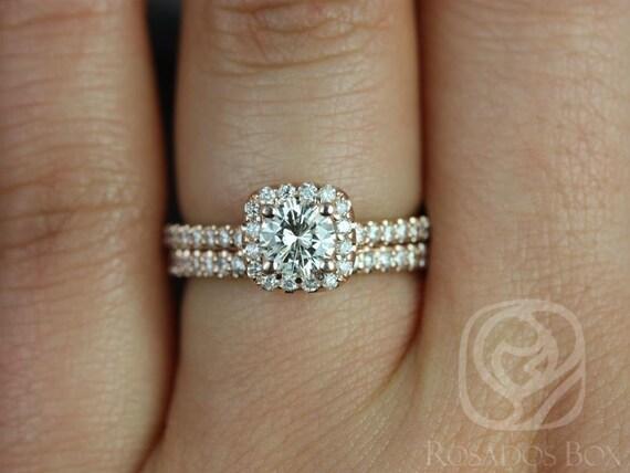 Rosados Box Conflict Free Mikena 1/2ct 14kt Rose Gold Cushion Halo Diamonds Wedding Set Rings