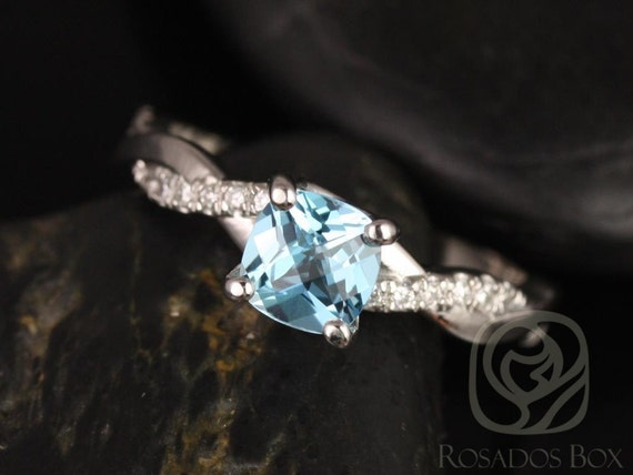 Tressa 6mm 14kt White Gold Cushion Blue Topaz Diamond Pave Twisted Vine Unique Engagement Ring,Rosados Box