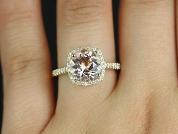 Rosados Box Barra 9mm Princess Size 14kt Yellow Gold Morganite and Diamonds Cushion Halo Engagement Ring