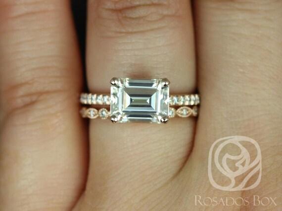 Rosados Box Becca 9x7mm & Gwen 14kt Rose Gold Emerald Forever One Moissanite Diamonds Accent Wedding Set Rings