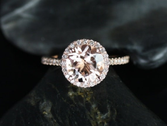 8mm Round Morganite White Sapphires Dainty Micro Pave Halo Engagement Ring,14kt Rose Gold,DIAMOND FREE Kubian 8mm,Rosados Box