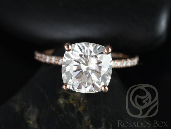 3.30ct Cushion Forever One Moissanite Diamond Dainty Hidden Micro Pave Basket Engagement Ring,14kt Rose Gold,Heidi 9mm,Rosados Box