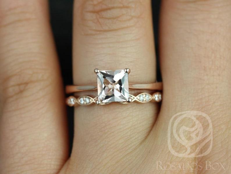 71489453e3194 Gallina 6mm & Christie 14kt Rose Gold Princess Morganite Diamond Dainty Art  Deco Wedding Set Rings,Rosados Box