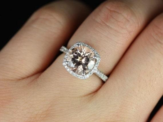 Rosados Box Barra 9mm Princess Size 14kt White Gold Morganite and Diamonds Cushion Halo Engagement Ring