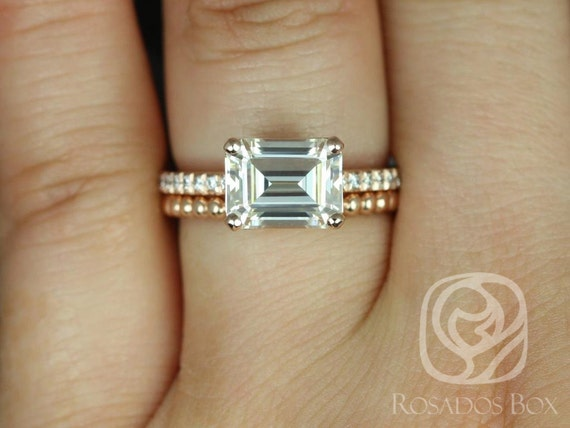 Rosados Box Becca 9x7mm & Buddha Beads 14kt Rose Gold Emerald Forever One Moissanite Diamonds Accent Wedding Set