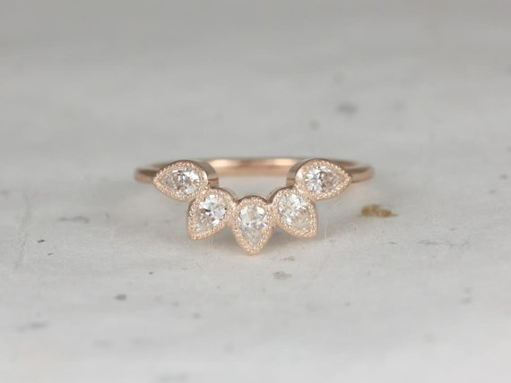 Rosados Box DIAMOND FREE Dahlia 14kt Rose Gold Pear Forever One Moissanite Leaves WITH Milgrain Tiara Ring