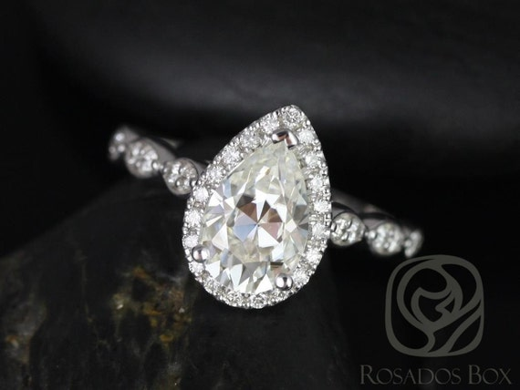 Rosados Box Sydney 9x6mm 14kt White Gold Pear F1- Moissanite, Diamonds Halo Leaves WITHOUT Milgrain Engagement Ring