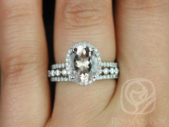 Rosados Box Jessica 10x8mm & Petite Naomi 14kt Oval Morganite and Diamonds Halo TRIO Wedding Set