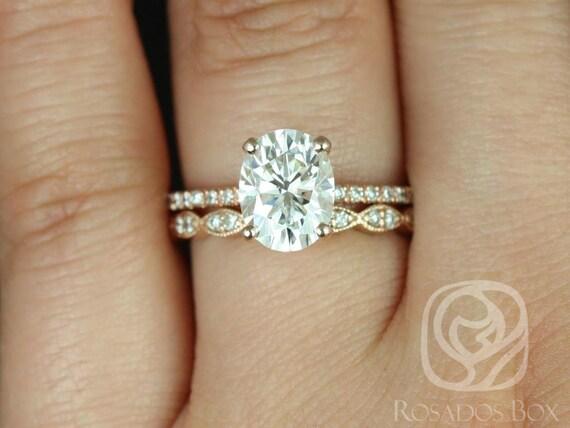 Rosados Box Hillary 9x7mm & Christie 14kt Rose Gold Oval Forever One Moissanite Diamond Basket Wedding Set