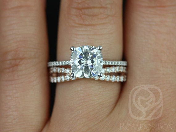 Rosados Box Marcelle 8mm & Lima 14kt White/Rose Gold Cushion F1- Moissanite and Diamonds Cathedral Wedding Set