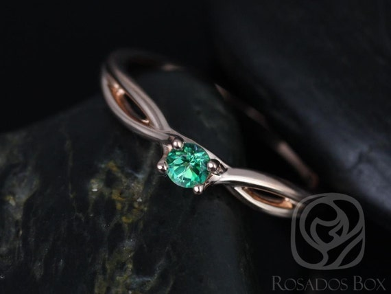 Rosados Box Erika 3.5mm 14kt Rose Gold Round Rainforest Green Topaz Double Twist Engagement Ring