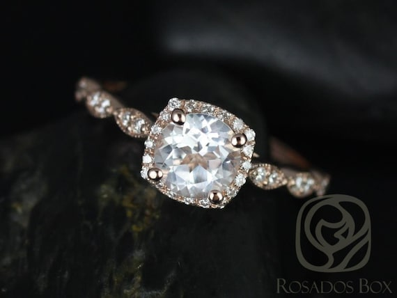 Rosados Box Christie 6mm 14kt Rose Gold Round White Topaz and Diamonds Cushion Halo WITH Milgrain Engagement Ring