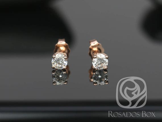 Rosados Box Ready to Ship 4mm 1/2cts 14kt Gold F1- Moissanite Classic 4-Prong Stud Earrings