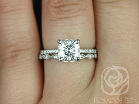 Rosados Box Heidi 7mm & Ultra Petite Leah 14kt White Gold Cushion Forever One Moissanite Diamond Wedding Set