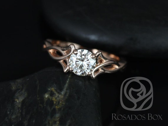 0.75ct Orla 6mm 14kt Rose Gold Forever One Moissanite Round Celtic Love Knot Triquetra Engagement Ring,Rosados Box